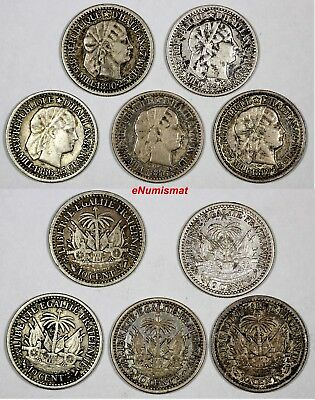 Haiti Silver LOT OF 5 COINS 1881-1894 10 Centimes KM# 44