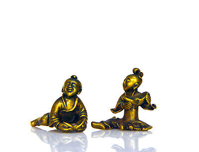 Pair of 19th c. Chinese Qing Period Bronze Fortune Bearing Boys Figurine Statue