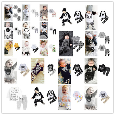 Toddler Kids Baby Boy Outfits T-shirt Tops+Long Pants Outfits 2Pcs Clothes Set
