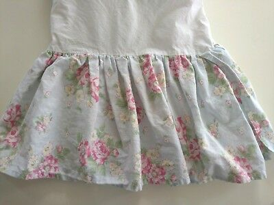 Pottery Barn Kids Blue Linen Cottage Floral Crib Skirt Dust Ruffle Shabby Chic
