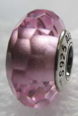 New Authentic Pandora Silver 925 Ale Fascinating Pink Murano Glass Bead Charm