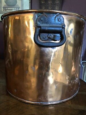 Large barrel Antique Copper Planter with solid brass handles