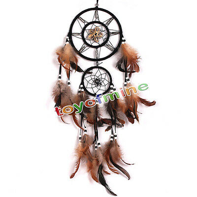 Brown Dream Catcher With feathers Wall Hanging Decoration Decor Bead Ornament