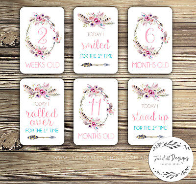 Baby Milestone Cards - Boho Floral Watercolour