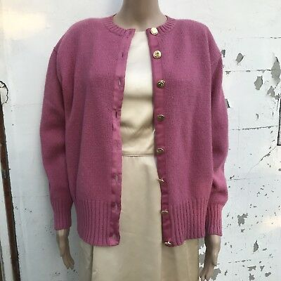 Aston Knit Cardigan Sweater Wool Pink With Gold Buttons 1980s Clothing