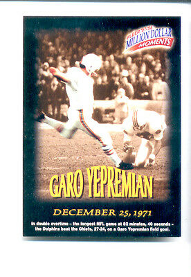 1997 Fleer GARO YEPREMIAN Miami Dolphins Million Dollar Moments Insert Card