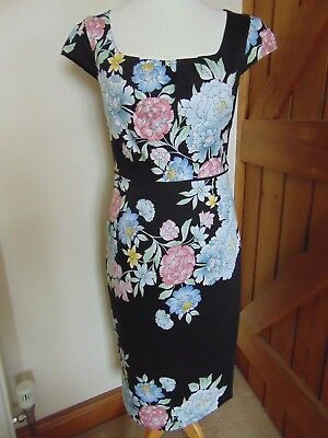 'Monsoon' dress Size 10 Black with floral design.