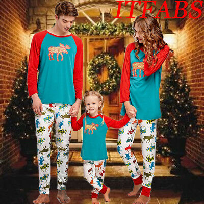 Family Matching Christmas Pajamas Set Women Men Kids Sleepwear Nightwear Pyjamas