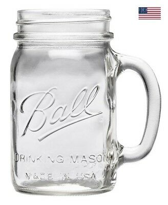 4 Pack Ball Pint Clear Mason Jars Party Drinking Mug Glasses W/ Handles 16Oz Jar