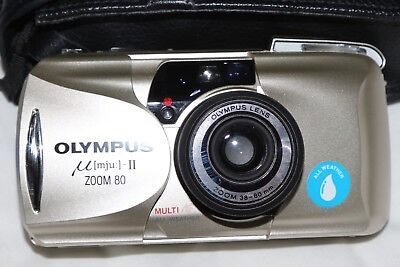 Olympus Mju II Zoom 80  All-Weather Camera   MINT Boxed with Case & Instructions