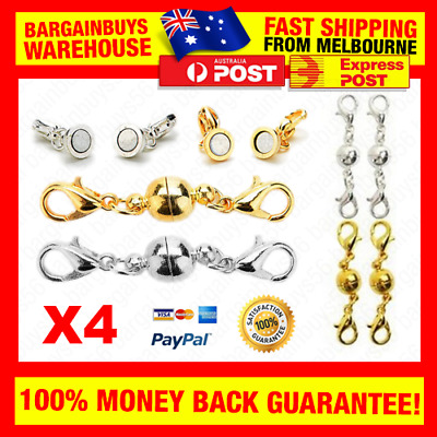 4pcs Magnetic Clasps Gold and Silver Magnet Lobster Necklace Bracelet Clasps