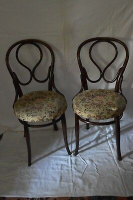 Matching Antique Bentwood Chairs with Floral Inlay