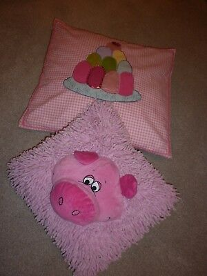 Two Cushions In Pink For Girls Bedroom, One Is M & S, One Is Kirkton House