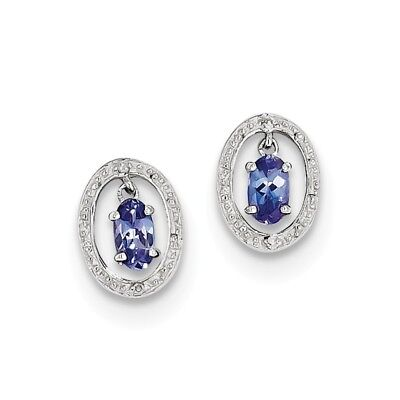 925 Sterling Silver 1.19ct Natural Tanzanite & Diamond Stud Earrings
