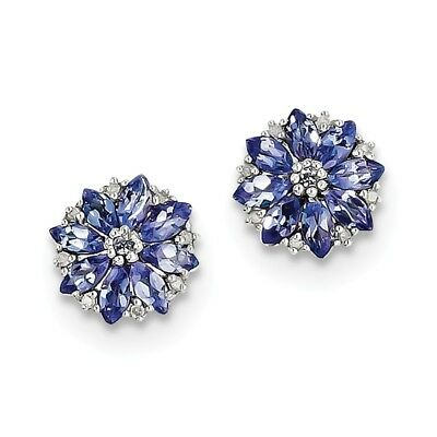 925 Sterling Silver 1.25ct Natural Tanzanite & Diamond Stud Earrings