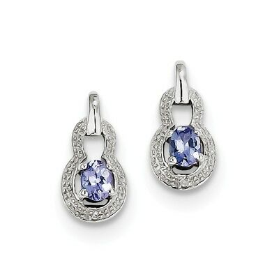 925 Sterling Silver 0.46ct Natural Tanzanite & Diamond Stud Earrings