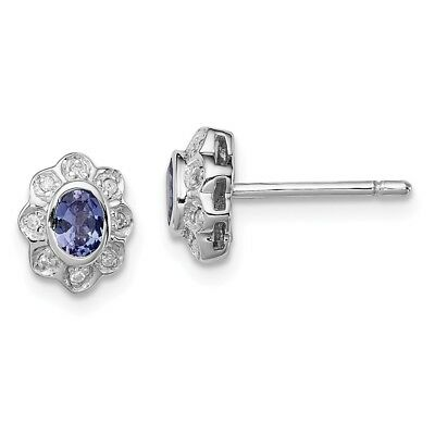 925 Sterling Silver 0.373ct Natural Tanzanite & Diamond Stud Earrings