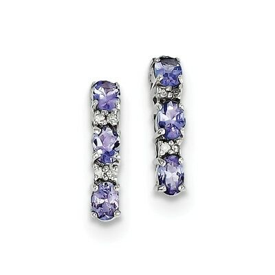 925 Sterling Silver 1ct Natural Tanzanite & Diamond Stud Earrings