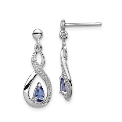 925 Sterling Silver 0.393ct Natural Tanzanite & Diamond Stud Earrings