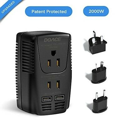 Upgraded DOACE 2000w Travel Power Converter and Adapter with 2 USB Ports 220v