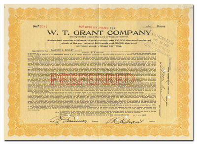 W. T. Grant Company Stock (Early 25 Cent Store) - Signed by W. T. Grant