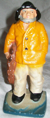 "Vintage Antique Cast Iron Figurine Sailor Fisherman Yellow Rain Coat 6.25"" EUC"