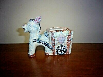 Vintage Donkey Mule Pulling Cart Planter Hand Painted Japan Betson's