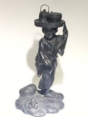 Antique Japanese Bronze Geisha Girl With Frog At Feet & Tray On Head