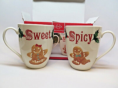 Holiday Mugs Lenox Gingerbread Sweet & Spicy Set of 2 14oz 863654 NIB See Photos