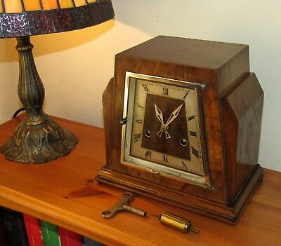 Delightful 1930's Davall Tower Art Deco Walnut Cased Striking Mantle Clock