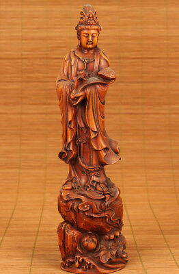 Antique chinese Old Boxwood hand carving Buddha Kwan-yin statue figure Ornament