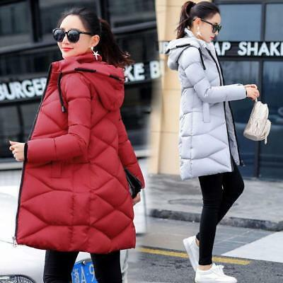 New Women long Down Cotton Parka Fur Collar Hooded Coat Quilted Jacket Warm 2019