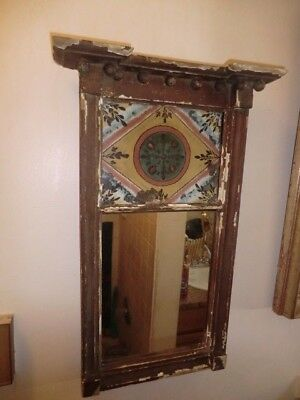 Antique Early American Mirror with Reverse Painted Pane