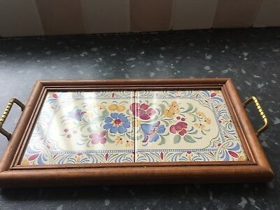 Wooden framed tiel twin handled tray