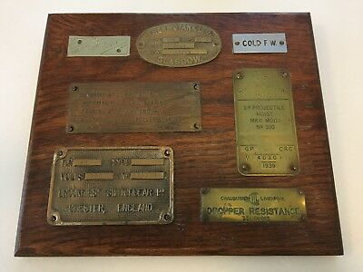 Vintage Brass Builder Plaques Mounted on Wood - Maritime, England, Navy, Glasgow