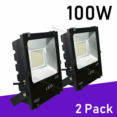 2 x 100W Led Flood Light Outdoor Spotlight Garden Yard Square 6000K Cool White