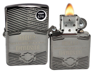 Zippo 29165 Harley Davidson Black Ice High Polish Chrome Armor Case Lighter New