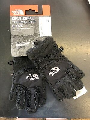 New Youth Kid Girl North Face Denali Thermal Etip Black Thick Warm Fleece Glove