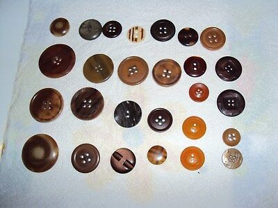 Vintage Buttons, Job Lot, Brown, Coat, Large Size And Small, Collectable, Craft