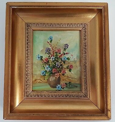 Vintage Framed Small Floral Oil Painting Picture Flowers in Vase Daisies
