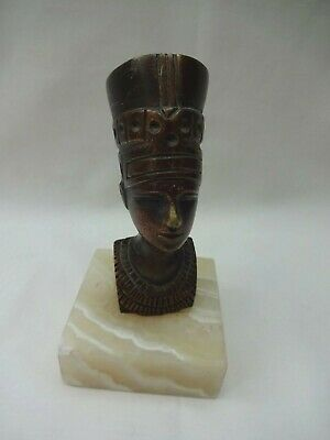 Vintage Brass Bust Of Queen Nefertiti Mounted On Marble