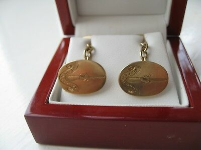 PR OVAL 9ct GOLD CHAIN LINK  CUFFLINKS WITH SCOTTISH COAT OF ARMS 'JE PENSE PLUS