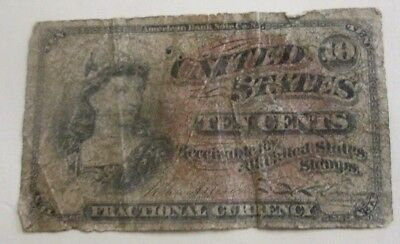 1863 TEN CENTS Fractional Currency 4th Issue 10 Cents estate find.