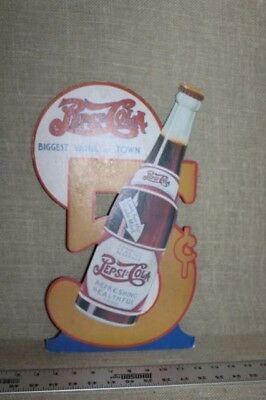 RARE ORIGINAL 1940's PEPSI COLA 5 CENT BOTTLES DIE CUT DISPLAY SIGN DOUBLE DOT