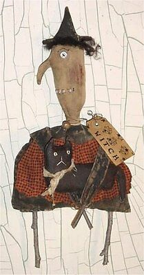 PATTERN Primitive Extreme Witch Doll & Black Cat Ornie UNCUT OOP Off the Beam