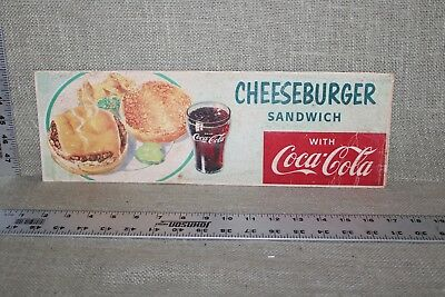 Original 1957 Drink Coca Cola With Cheeseburger Sandwich Paperboard Sign