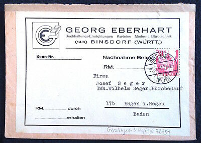 Franz. Zone Brief 1948 Binsdorf nach Engen