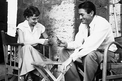Roman Holiday Gregory Peck and Audrey Hepburn playing cards 11x17 Mini Poster