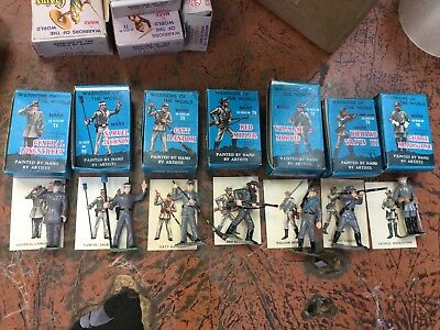 VINTAGE 1960's Marx Warriors of the World 7 Confederate Soldiers with Cards