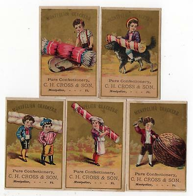 Set/5 Montpelier Crackers*vermont*c H Cross*confectionery*victorian Trade Cards